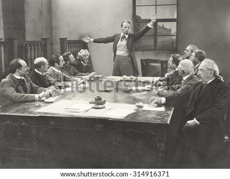 Addressing the commitee - stock photo