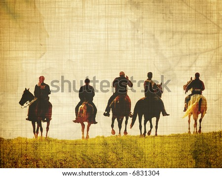 aded riders - stock photo