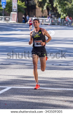 Adel Mechaal of Spain,10000m, 92nd Jean Bouin Running events , 23.nov. 2015 in Barcelona, Spain - stock photo