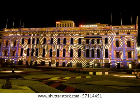 ADELAIDE, AUSTRALIA - APRIL 4: Northern Lights Festival, digital image projected onto buildings along North Terrace as part of the Adelaide Festival on April 4, 2010 in Adelaide, South Australia