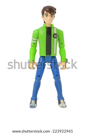 ADELAIDE, AUSTRALIA - August 16 2014:A studio shot of a Ben 10  toy from the popular animated series. The series is shown within numerous countries around the world. - stock photo