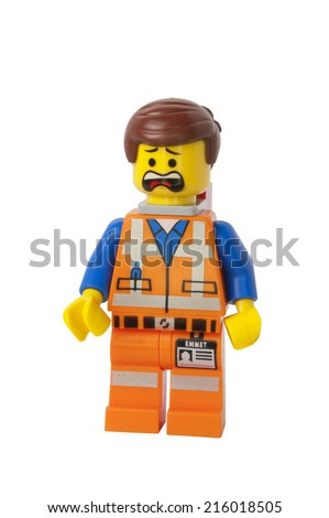 ADELAIDE, AUSTRALIA - August 26 2014:A studio shot of a Emmet Lego minifigure from the Lego movie. Lego is extremely popular worldwide with children and collectors. - stock photo