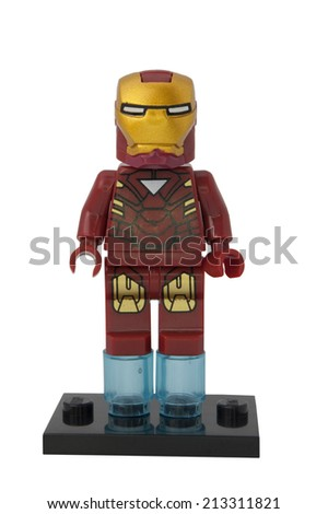 ADELAIDE, AUSTRALIA - August 16 2014:A studio shot of a Iron Man Lego Compatible minifigure from the Marvel Comics and Movies. Lego is extremely popular worldwide with children and collectors. - stock photo