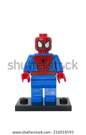 ADELAIDE, AUSTRALIA - August 20 2014:A studio shot of a Spiderman Lego Compatible minifigure from the Marvel Comics and Movies. Lego is extremely popular worldwide with children and collectors. - stock photo