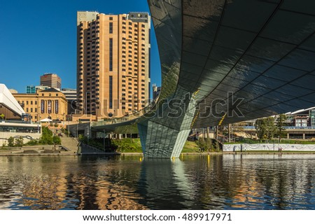 Adelaide Australia 29 August 2014 Adelaide's Riverbank Bridge is a pedestrian footbridge across the River Torrens