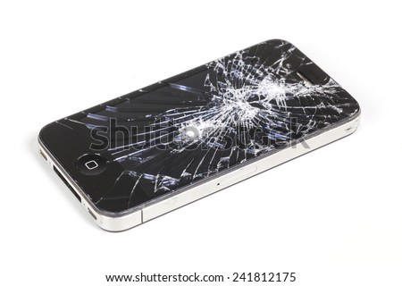 Adelaide, Australia - Dec 8: Studio shot of an iPhone 4 with seriously broken retina display screen isolated on white on Dec 8, 2014. iPhone 4 is a smartphone developed by Apple Inc. - stock photo