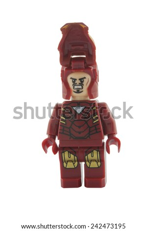 ADELAIDE, AUSTRALIA - December 11 2014:A studio shot of a Iron Man Lego Compatible minifigure from the Marvel Comics and Movies. Lego is extremely popular worldwide with children and collectors. - stock photo