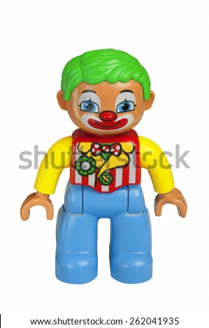 ADELAIDE, AUSTRALIA - February 06 2015:A studio shot of a Clown Lego duplo minifigure from the Circus Theme. Lego is extremely popular worldwide with children and collectors.