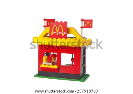 ADELAIDE,AUSTRALIA - February 26 2015: A Studio shot of a vintage McDonalds Drive Thru Lego Kit. Lego is extremely popular worldwide with children and collectors. - stock photo