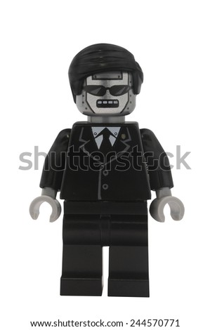 ADELAIDE, AUSTRALIA - January 09 2015:A studio shot of an Executron Lego minifigure from the Lego movie. Lego is extremely popular worldwide with children and collectors.