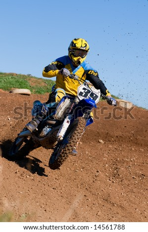 Adelaide, Australia June 15: Racing in the Expert Class of the South Australian Motocross Title 15th June 2008 - stock photo