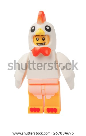 ADELAIDE, AUSTRALIA - March 27 2015:A studio shot of a Chicken Suit Guy Lego minifigure. Lego is extremely popular worldwide with children and collectors. - stock photo