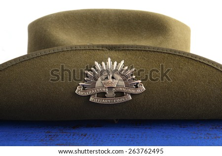 ADELAIDE, AUSTRALIA - MARCH 18, 2015: Australian army soldier slouch hat with Anzac WWI rising star hat badge. - stock photo