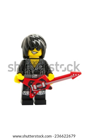 ADELAIDE, AUSTRALIA - November 18, 2014: A studio shot of a Rock Star Lego Minifigure from series 12. Lego is very popular with children and collectors worldwide. - stock photo
