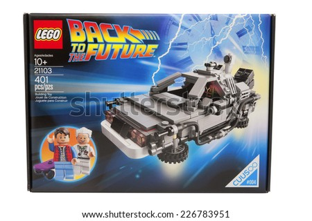 ADELAIDE,AUSTRALIA - October 27 2014: A studio shot of a Back to the Future Lego Kit. Lego is extremely popular with children and collectors worldwide. - stock photo