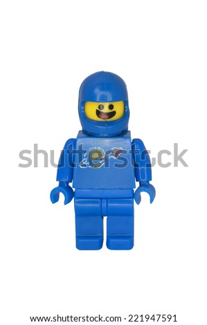 ADELAIDE, AUSTRALIA - October 06 2014:A studio shot of a Benny the Astronaut Lego minifigure from the Lego movie. Lego is extremely popular worldwide with children and collectors. - stock photo