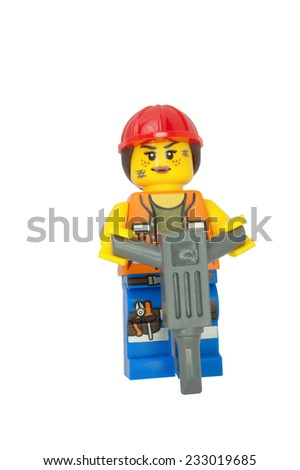 ADELAIDE, AUSTRALIA - October 18, 2014: A studio shot of a Gail Lego Minifigure from the Lego Movie. Lego is very popular with children and collectors worldwide. - stock photo