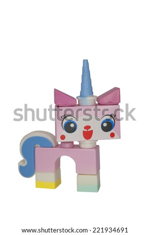 ADELAIDE, AUSTRALIA - October 06 2014:A studio shot of a Unikitty Lego Compatible minifigure from the Lego Movie. Lego is extremely popular worldwide with children and collectors. - stock photo