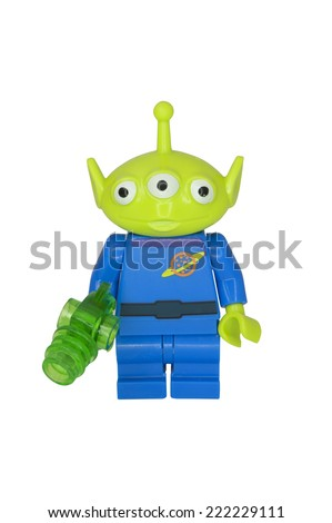 ADELAIDE, AUSTRALIA - October 06 2014:A studio shot of Little Green Alien Lego Compatible minifigure from the Toy Story Movie series. Lego is extremely popular worldwide with children and collectors. - stock photo