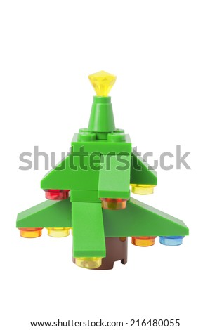 ADELAIDE, AUSTRALIA - September 11 2014:A studio shot of a Lego Christmas Tree issued in the 2014 Lego Advent Calendar. Lego is extremely popular worldwide with children and collectors. - stock photo