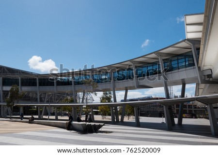 ADELAIDE, AUSTRALIA - SEPTEMBER 30, 2017: Bridge on the Adelaide airport connecting the terminal building with car park.