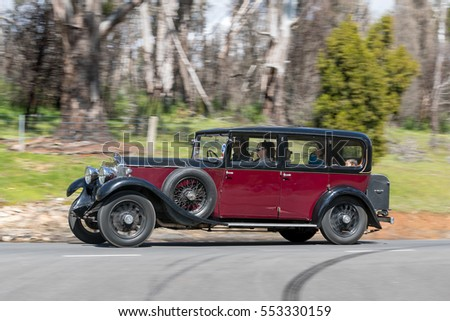 Adelaide, Australia - September 25, 2016: Vintage 1930 Buick 6 Cylinder Sedan driving on country roads near the town of Birdwood, South Australia.