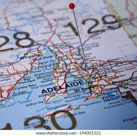 Adelaide  in Australia in the map - stock photo