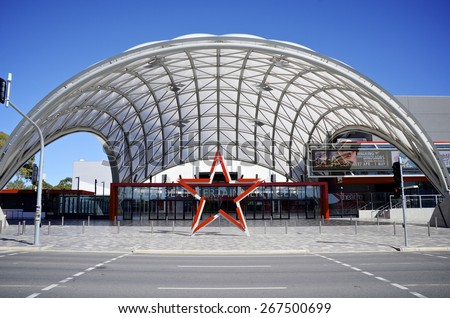 ADELAIDE, SOUTH AUSTRALIA - 25 April 2011: Entrance to the Adelaide Entertainment Centre which attracts many entertainment acts from around the world. - stock photo