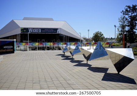 ADELAIDE, SOUTH AUSTRALIA - 25 April 2011: Entrance to the Festival Theatre which is the largest proscenium arch theatre in Adelaide, seating close to 2000 people. - stock photo