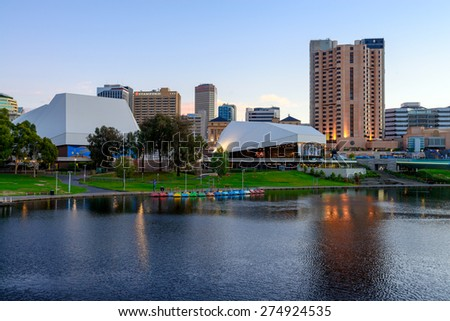 Adelaide, South Australia - January 18, 2015: Adelaide City Business District at dusk. View from the northern bank of the Torrens river