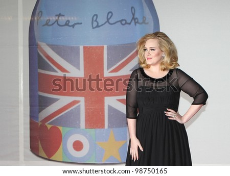 Adele arriving for the 2012 Brit Awards, O2 Arena, London. 21/02/2012 Picture by: Simon Burchell / Featureflash - stock photo
