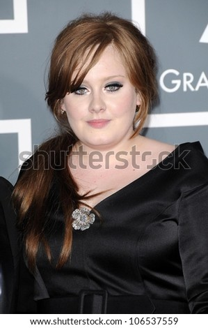 Adele at the 51st Annual GRAMMY Awards. Staples Center, Los Angeles, CA. 02-08-09 - stock photo