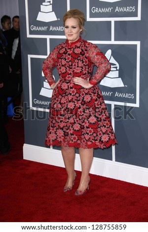 Adele at the 55th Annual GRAMMY Awards, Staples Center, Los Angeles, CA 02-10-13 - stock photo