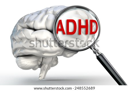 ADHD word Attention Deficit Hyperactivity Disorder on magnifying glass and human brain on white background