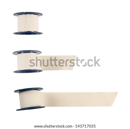 Adhesive bandage sticking plaster isolated over white background, set of three - stock photo