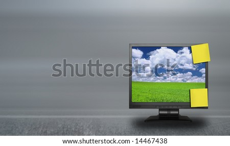 adhesive notes on lcd screen against abstract background, photo inside LCD is my property - stock photo