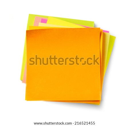 Adhesive notes on white background - stock photo