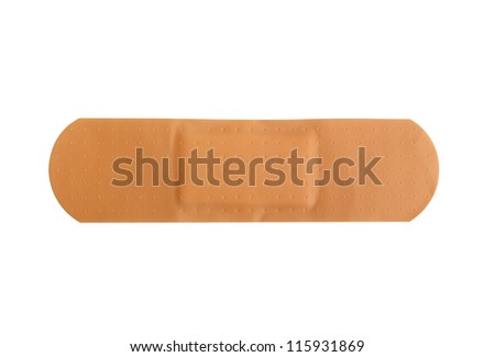 Adhesive patch on a pure white background - stock photo