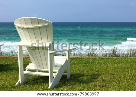Adirondack Beach Chair with Ocean View - stock photo