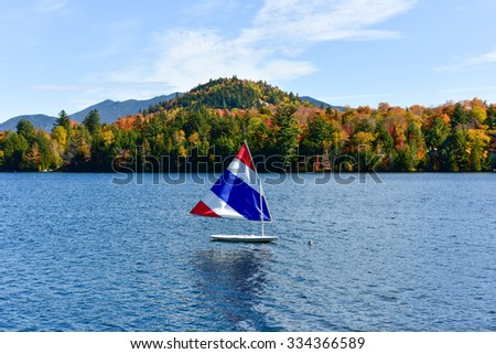 Adirondacks Peak Fall Foliage in Lake Placid, New York. - stock photo