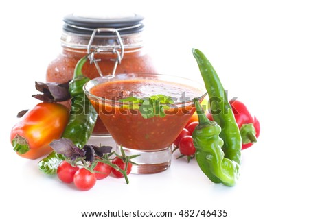 Adjika sauces from fresh vegetables