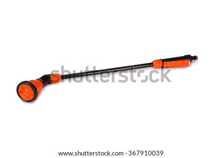 Adjustable nozzle for garden hose isolated on white - stock photo