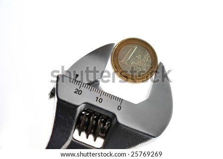 adjustable spanner with Euro isolated on white background