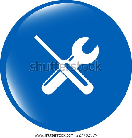 adjustable wrench and screwdriver icon web button isolated on white - stock photo