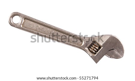 Adjustable wrench isolated on white background