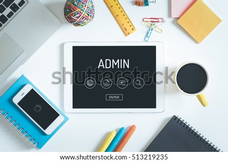 ADMIN Concept On Tablet PC Screen With Icons