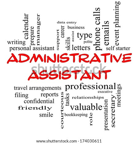 administrative assistant word cloud concept in red caps with great terms such as professional secretary administrative assistant