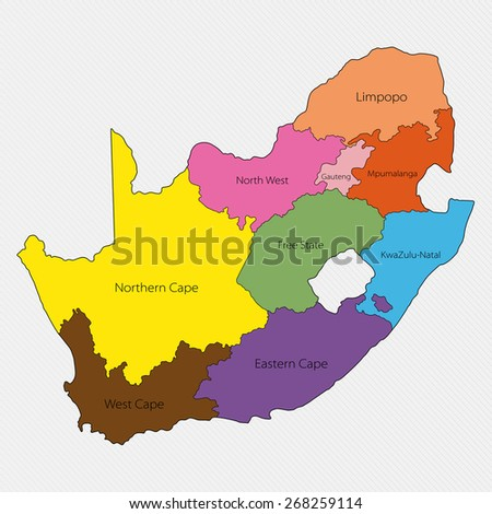 Administrative Division South Africa Stock Illustration 268259114