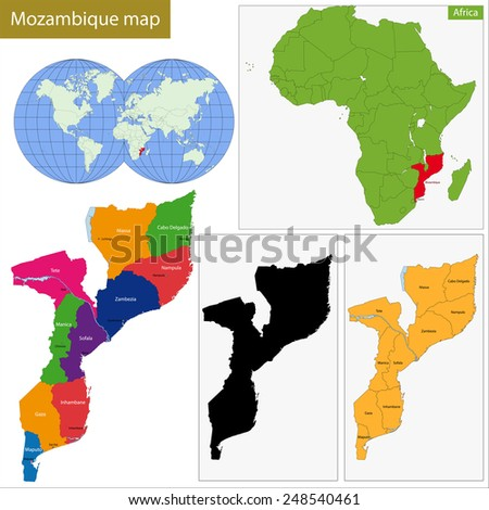 Administrative division of the Republic of Mozambique - stock photo