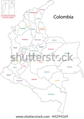 Administrative divisions of Colombia - stock photo